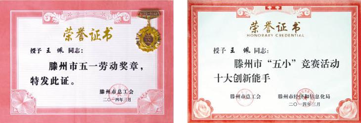 王佩荣获五一劳动奖章证书
